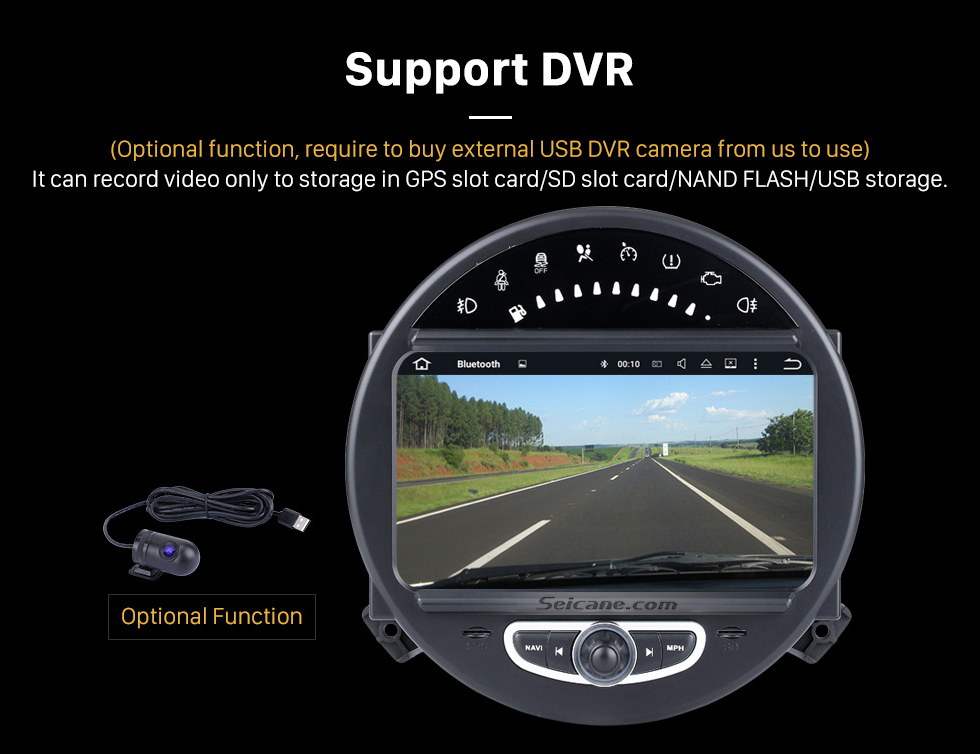 Support DVR HD 1024*600 Touchscreen 2006-2013 BMW Mini Cooper with 8 inch Android 5.1.1 Autoradio GPS DVD Player Bluetooth HD 1080P Video Steering Wheel Control