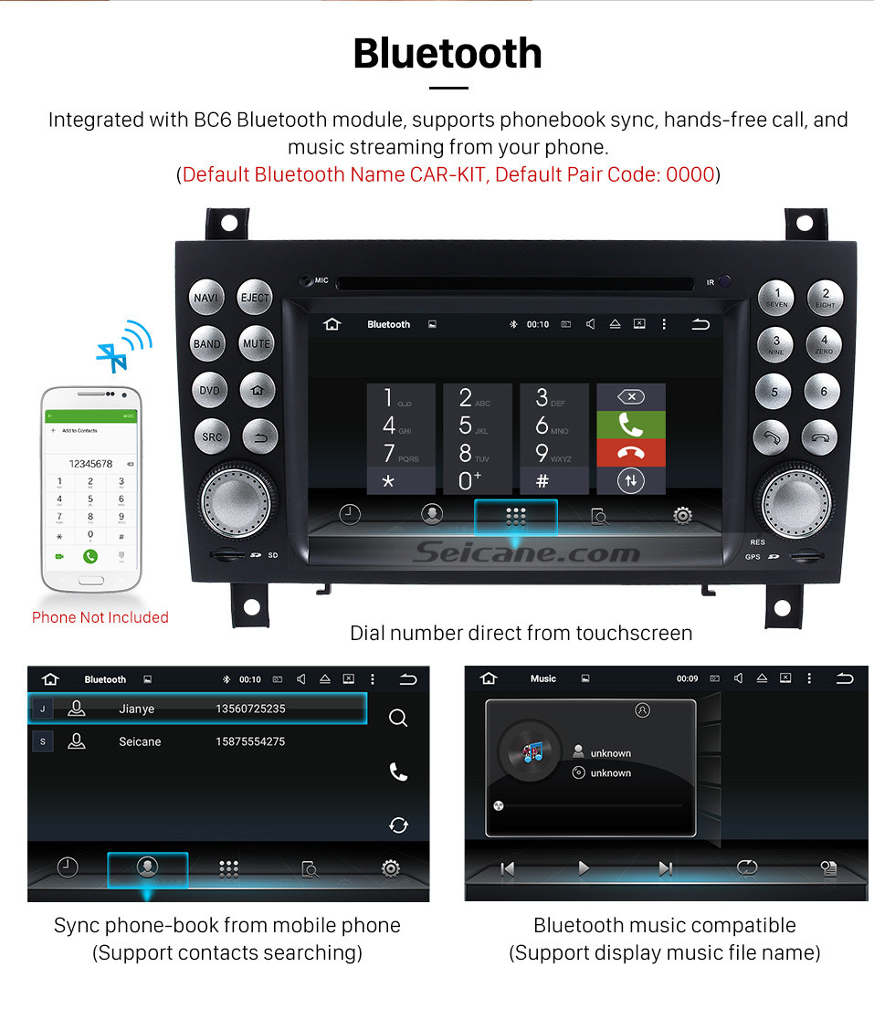Seicane OEM Android 9.0 DVD Player GPS Navigation system for 2004-2012 Mercedes-Benz SLK W171 R171 with HD 1080P Video Bluetooth Touch Screen Radio WiFi TV Backup Camera steering wheel control USB SD