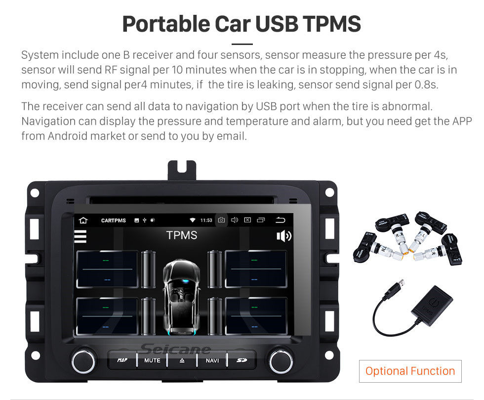 Seicane Android 9.0 2013 2014 2015 DODGE RAM 1500 2500 3500 4500 Replacement Stereo System GPS Radio Navigation 3G WiFi DVD Bluetooth USB SD