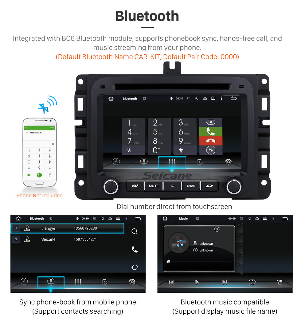 Seicane Android 8.0 7 inch HD Touch Screen DVD Player for 2013-2015 Dodge Ram 1500 2500 3500 4500 Radio GPS Navigation Bluetooth WIFI Support TV Backup Camera steering wheel control USB SD 1080P Video