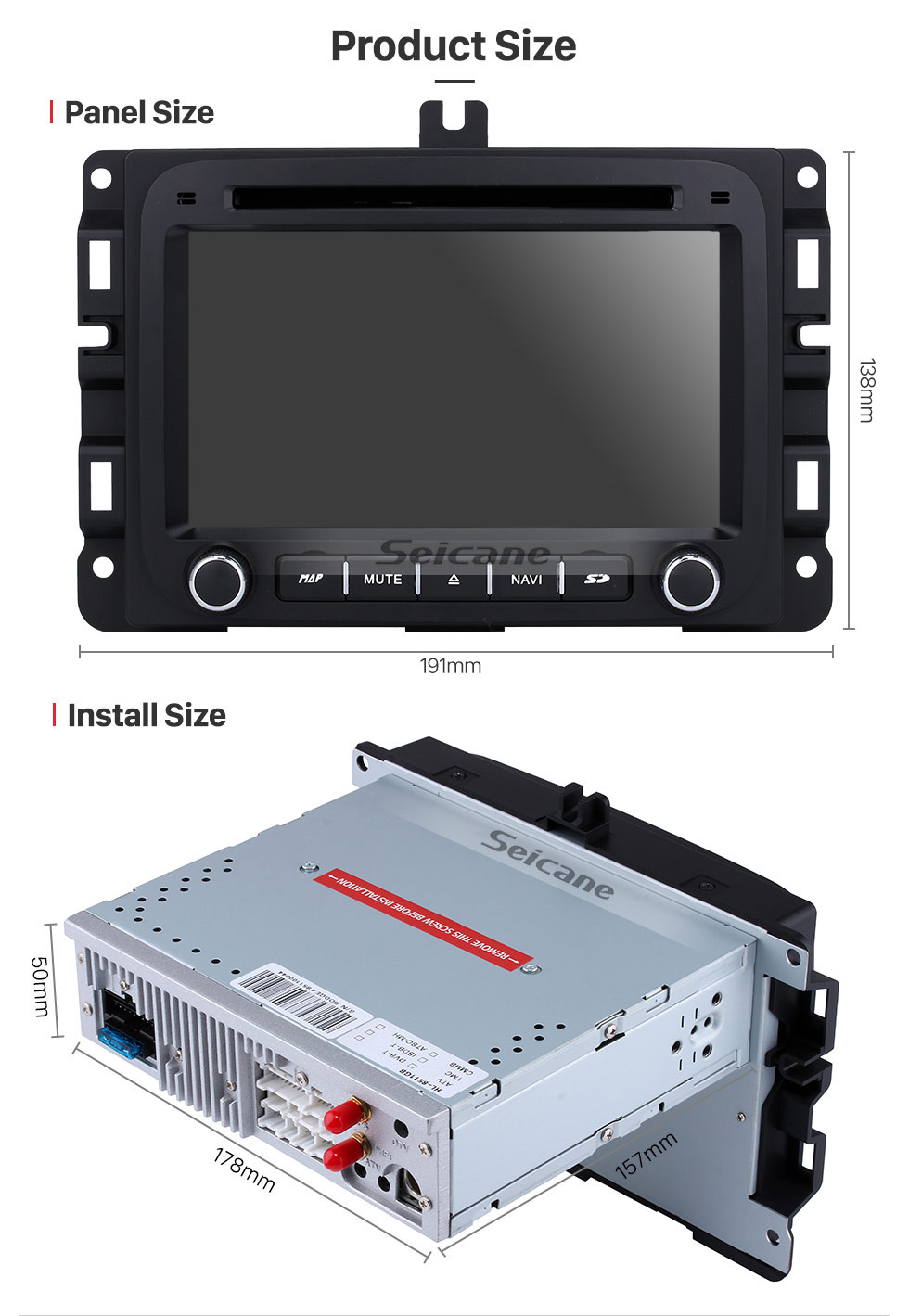Seicane Android 9.0 7 inch HD Touch Screen DVD Player for 2013-2015 Dodge Ram 1500 2500 3500 4500 Radio GPS Navigation Bluetooth WIFI Support TV Backup Camera steering wheel control USB SD 1080P Video