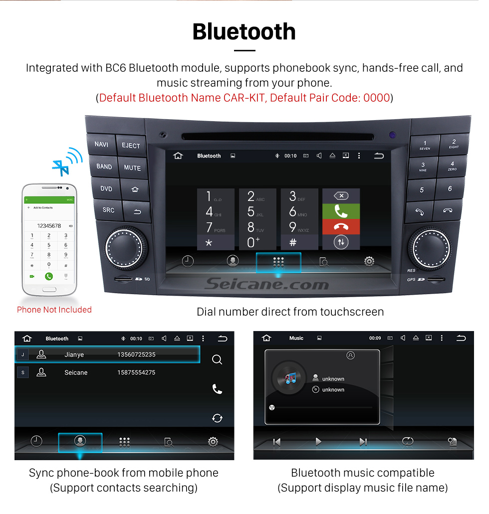 Seicane Aftermarket Android 8.0 GPS Navigation system for 2005 2006 Mercedes Benz CLK W209 CLK500 CLK550 CLK55 CLK63 CLK200 with DVD Player Touch Screen Radio WiFi TV HD 1080P Video Rearview Camera steering wheel control USB SD Bluetooth