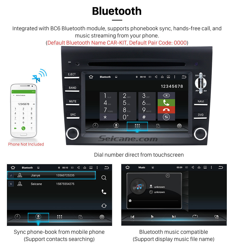 Seicane  Android 8.0 GPS Navigation system for 2005-2008 Porsche 911 997 with DVD Player Touch Screen Radio Bluetooth WiFi TV Backup Camera steering wheel control HD 1080P Video USB SD