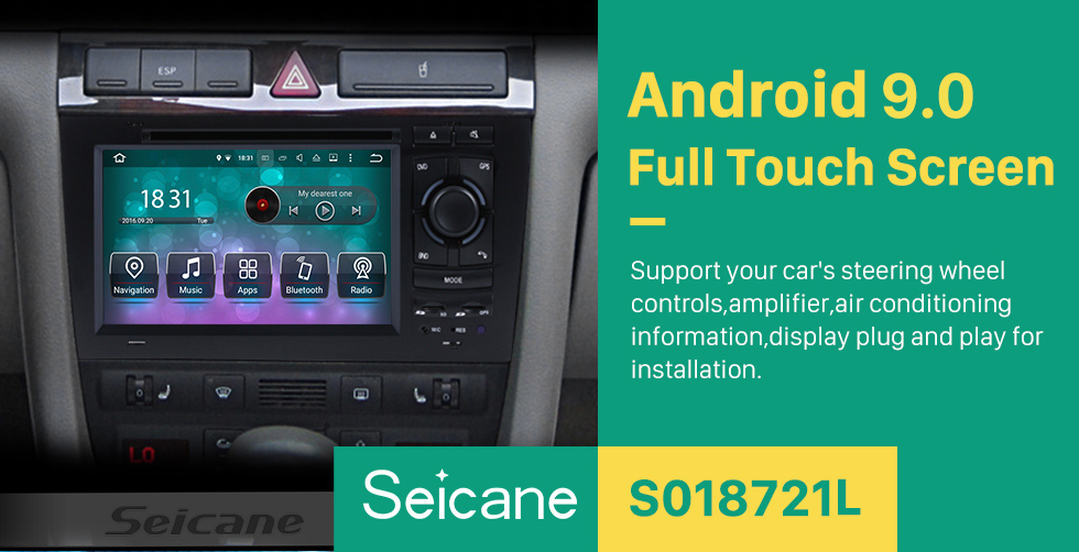Seicane OEM Android 9.0 DVD Player GPS Navigation system for 1997-2004 Audi A6 S6 RS6 with HD 1080P Video Bluetooth Touch Screen Radio WiFi TV Backup Camera steering wheel control USB SD