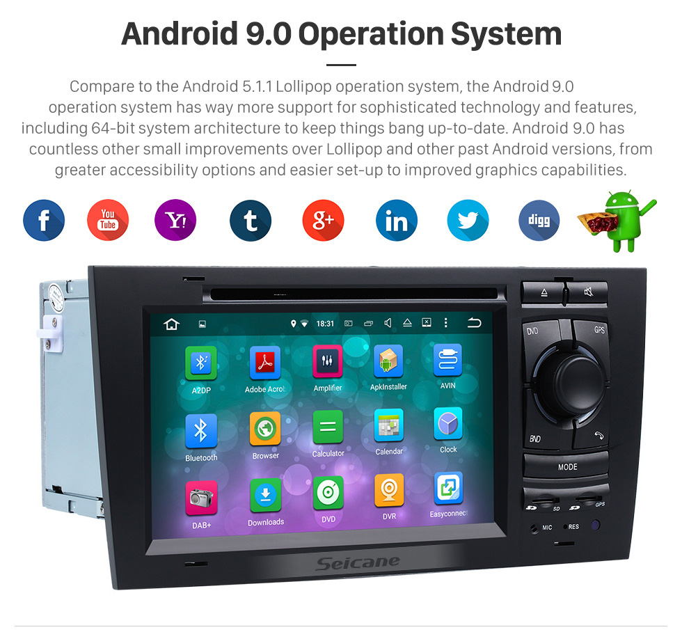 Seicane OEM Android 8.0 DVD Player GPS Navigation system for 1997-2004 Audi A6 S6 RS6 with HD 1080P Video Bluetooth Touch Screen Radio WiFi TV Backup Camera steering wheel control USB SD