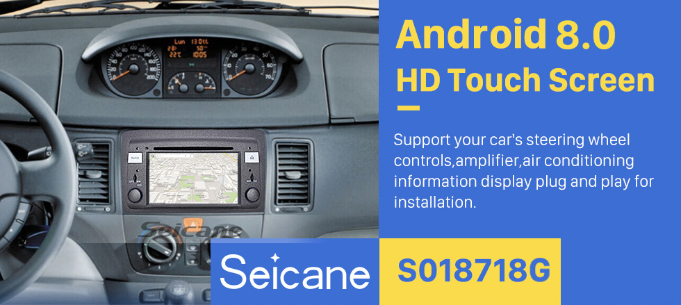 Seicane Android 8.0 HD Touchscreen Radio Reproductor de DVD para 2003-2007 Fiat Idea Head Unit Sistema de navegación GPS Bluetooth Phone WIFI Soporte Cámara de respaldo 1080P Video OBDII DVR Control del volante