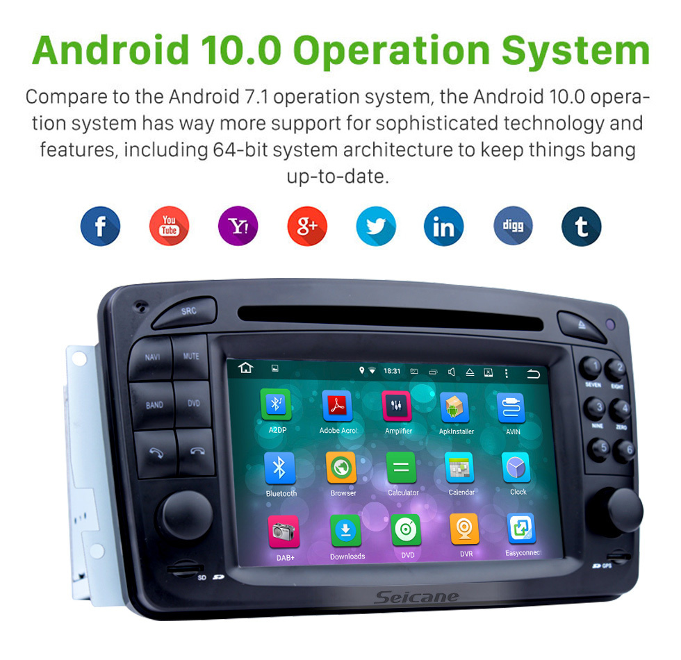 Seicane Android 8.0 GPS Navigation system for 1998-2004 Mercedes-Benz G-W463 G550 G500 G400 G320 G270 G55 with Radio DVD Player Touch Screen Bluetooth WiFi TV Backup Camera steering wheel control USB SD HD 1080P Video