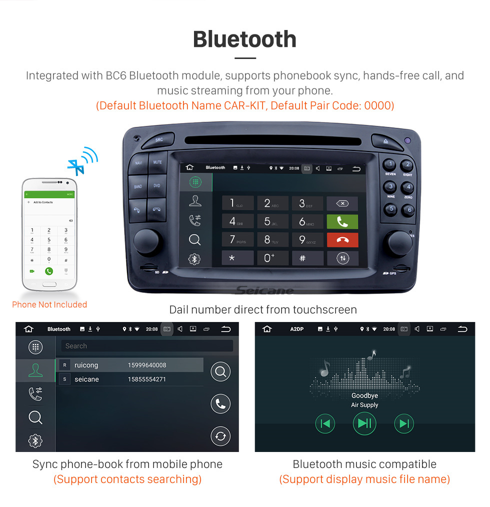 Seicane Pure Android 8.0 In Dash DVD GPS System for 1998 1999 2000 2001 2002 2003 2004 Mercedes Benz CLK W209 with Bluetooth Radio RDS 3G WiFi