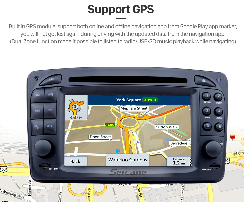 Seicane In dash Android 8.0 GPS Navigation system for 1998-2004 Mercedes-Benz CLK-W209 CLK200 CLK320 CLK430 with Radio Touch Screen Bluetooth DVD Player WiFi TV steering wheel control USB SD HD 1080P Video Backup Camera