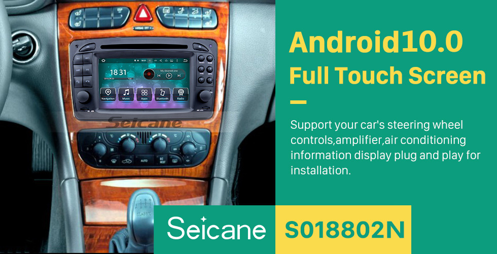 Seicane 1998-2004 Mercedes-Benz CLK-C209 CLK200 CLK320 CLK430 Radio DVD Player Android 8.0 GPS Navigation system Touch Screen TV Rearview Camera steering wheel control USB SD Bluetooth WiFi HD 1080P Video