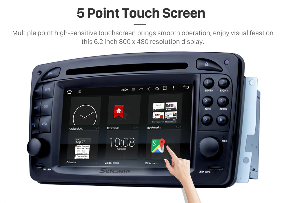 Seicane Aftermarket Android 8.0 GPS Navigation system for 2000-2005 Mercedes-Benz C-Class W203 C180 C200 C220 C230 C240 C270 C280 C320 with DVD Player Touch Screen Radio WiFi TV HD 1080P Video Rearview Camera steering wheel control USB SD Bluetooth