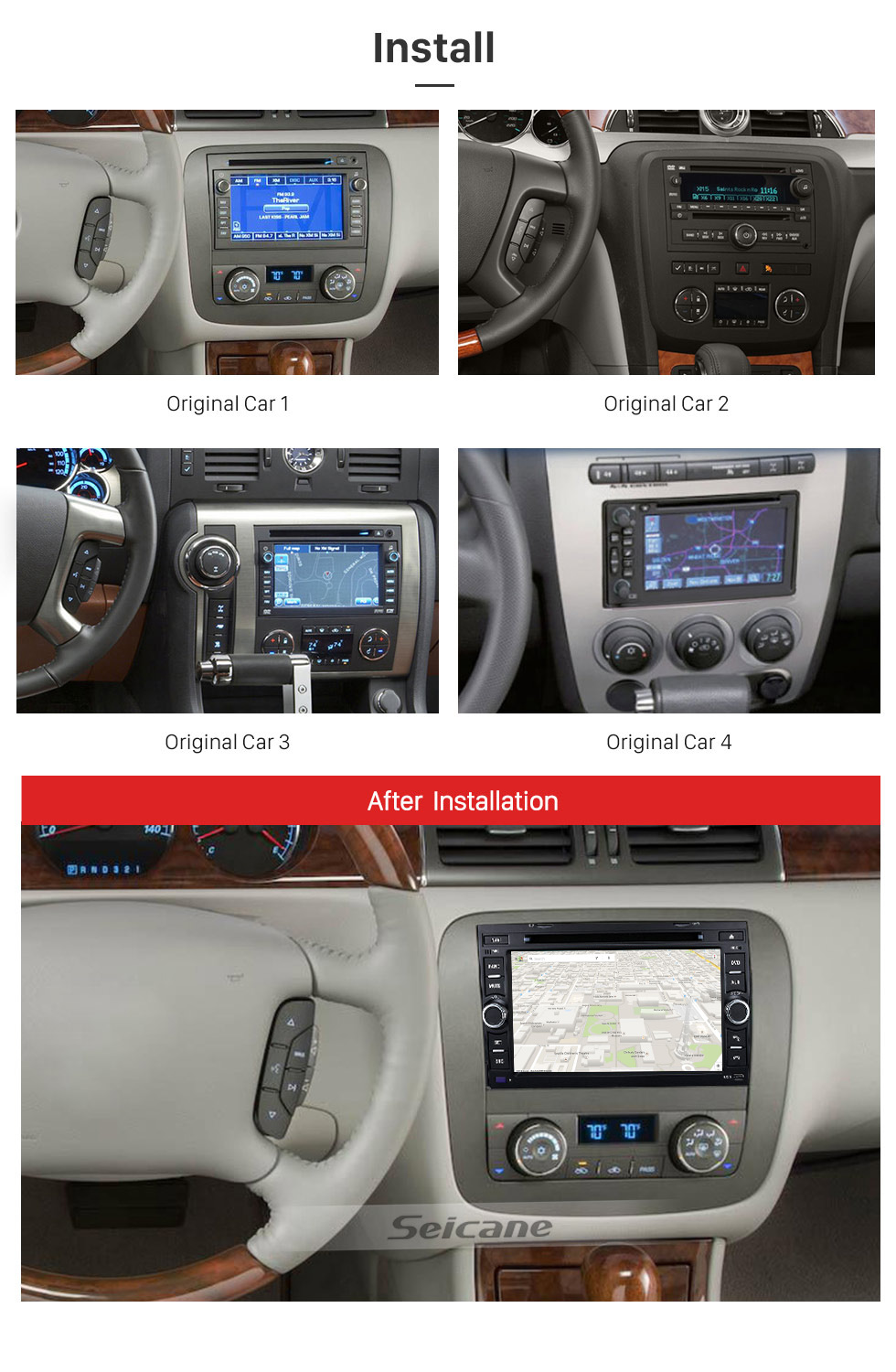 Seicane Android 8.0 GPS Navigation System for 2007-2011 Chevrolet Chevy Avalanche with Radio DVD Player Bluetooth Touch Screen DVR WIFI TV Steering Wheel Control
