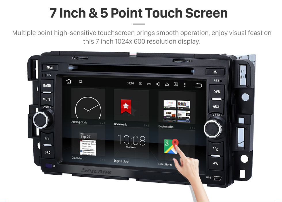 Seicane Android 8.0 GPS Navigation System for 2007-2011 Chevrolet Chevy Tahoe with Radio DVD Player Bluetooth Touch Screen DVR WIFI TV Steering Wheel Control