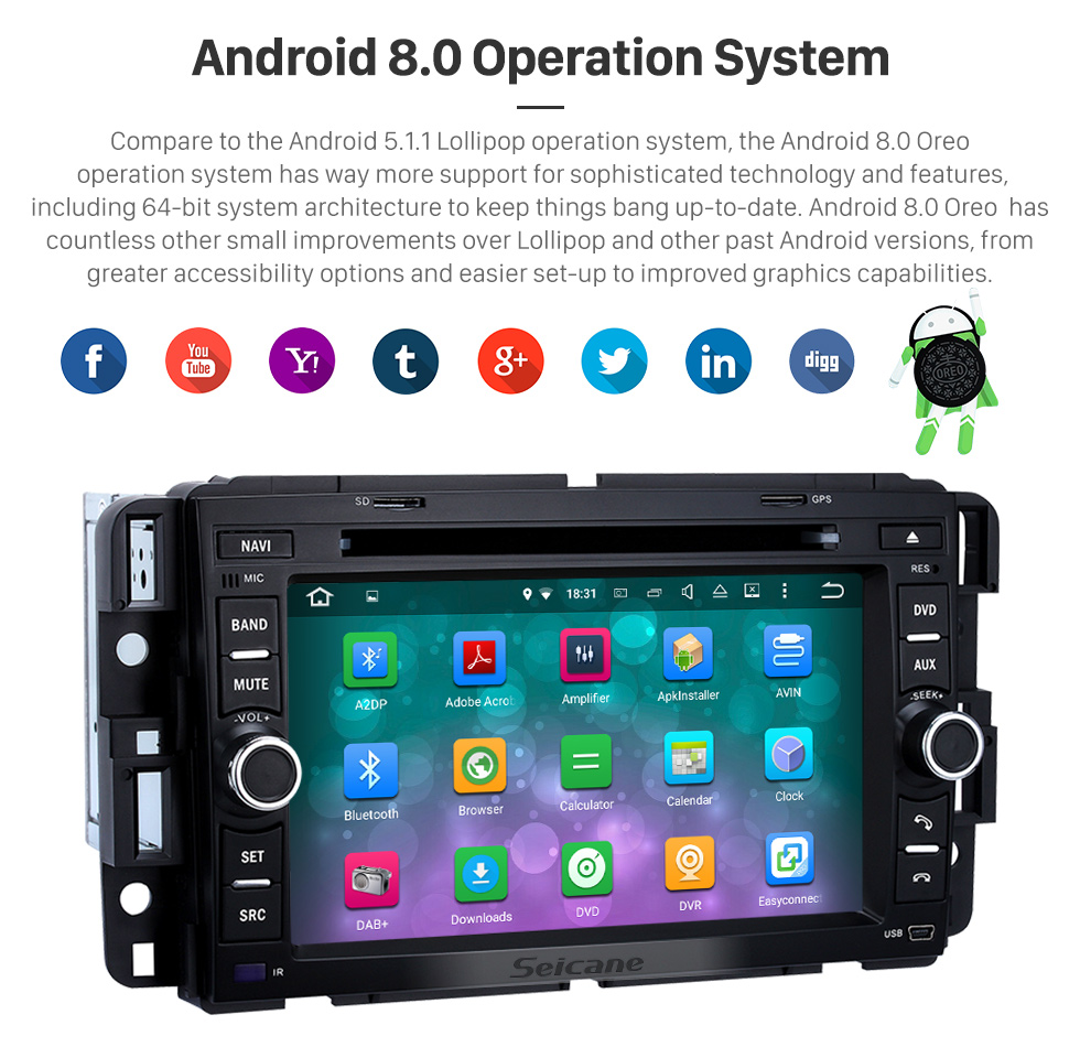 Seicane Radio DVD Player Android 8.0 GPS Navigation System for 2009-2011 Chevrolet Chevy Traverse with  Bluetooth Touch Screen DVR WIFI Steering Wheel Control Mirror Link
