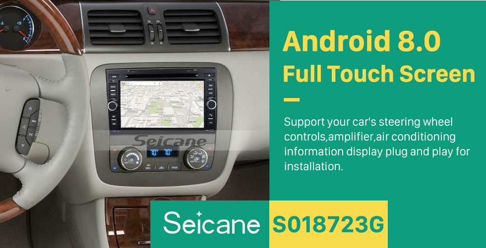 Seicane Bluetooth Radio Android 8.0 GPS Navigation System 2007-2011 GMC Acadia with DVD Player Touch Screen DVR WIFI TV Steering Wheel Control