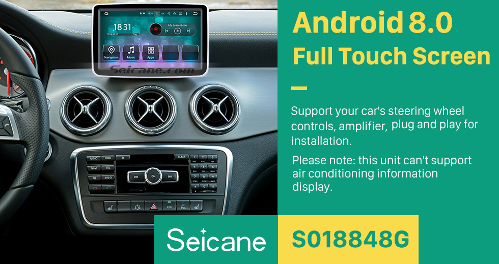 Seicane 8 inch 2013-2016 Mercedes-Benz GLA Class Android 8.0 HD 1024*600 Touchscreen GPS Navigation system WiFi steering wheel control HD 1080P Video