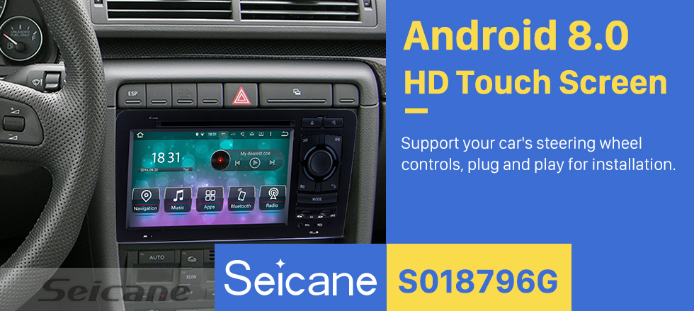 Seicane OEM Android 8.0 HD Touchscrenn Car Radio Head Unit For 2003-2011 Audi A3 S3 DVD Player GPS Navigation Bluetooth WIFI Support Mirror Link USB DVR 1080P Video Steering Wheel Control