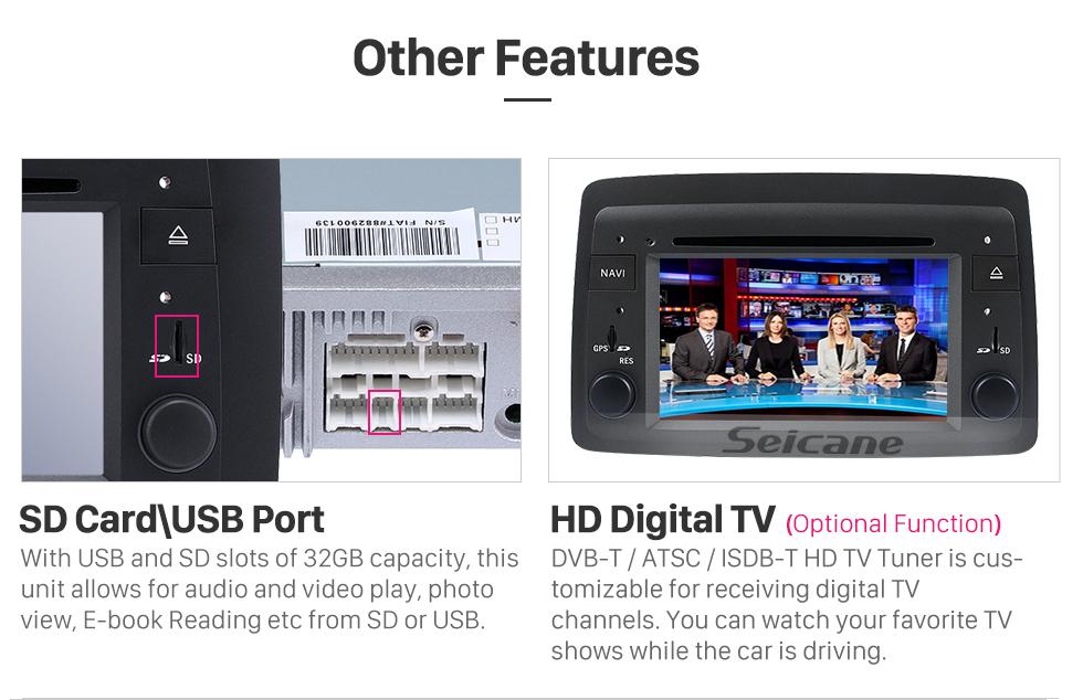 Seicane Android 8.0 HD Écran Tactile Radio Unité Principale Pour 2005-2012 Fiat Croma Lecteur DVD de Voiture Système de Navigation GPS Bluetooth Téléphone WIFI Soutien Numérique TV DVR USB Contrôle de Volant