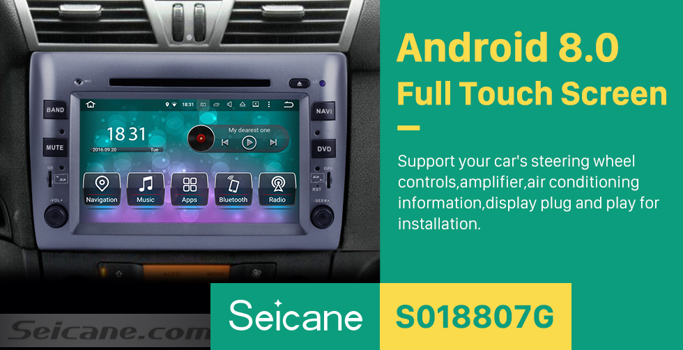Seicane 8 Inch Android 8.0 Aftermarket Radio DVD Player For 2005-2010 Fiat Stilo GPS Navigation Bluetooth Phone Music WIFI Support Rear View Camera Steering Wheel Control DVR DAB+