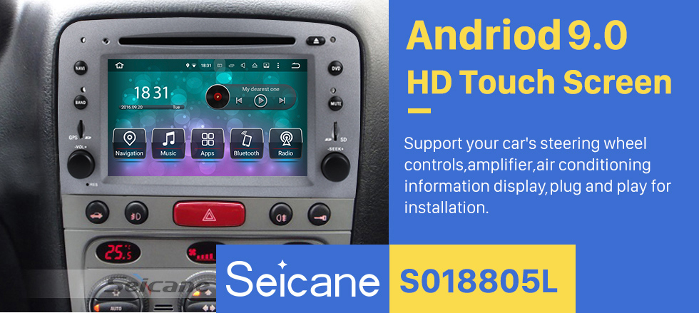 Seicane Android 9.0 HD Touchscreen Car Radio DVD Player For 2005-2013 Alfa Romeo 147 GPS Navigation System Bluetooth Music WIFI Support OBD2 USB DAB+ Mirror Link Backup Camera Steering Wheel Control
