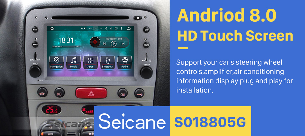 Seicane Android 8.0 HD Touchscreen Aftermarket Radio For 2007-2013 Alfa Romeo GT Car Stereo DVD Player GPS Navigation System Bluetooth Phone Music Support Backup Camera 1080P Video Mirror Link OBDII DVR Steering Wheel Control