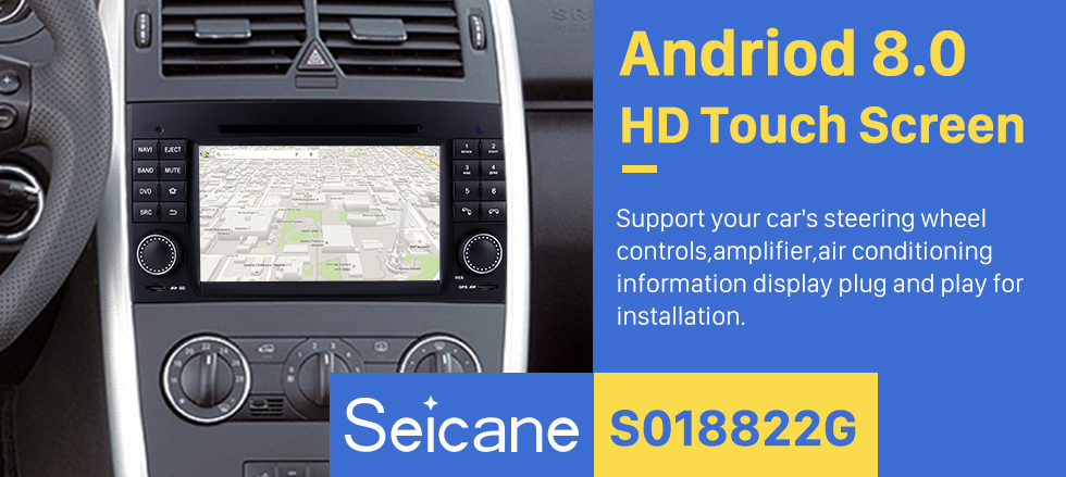 Seicane 2004-2012 Mercedes Benz A Klasse W169 A150 A170 Android 8.0 GPS Navigationssystem DVD-Player 7 Zoll HD Touchscreen Radio WIFI Bluetooth Musik USB SD Carplay SWC