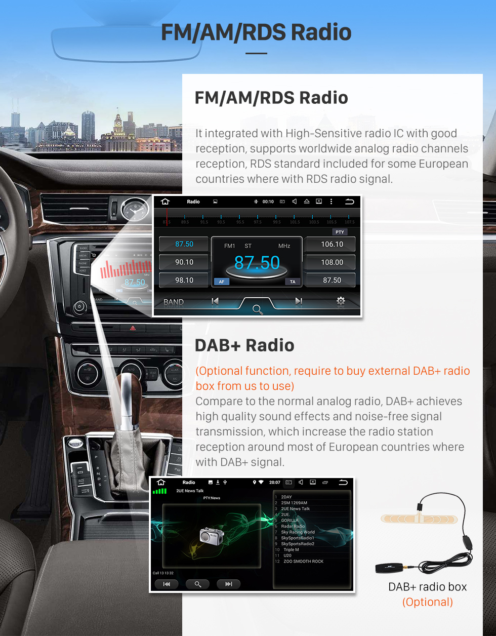 Seicane Android 8.0 GPS Navigation system for 2004-2012 Mercedes Benz A class W169 A150 A170 with DVD Player Touch Screen Radio Bluetooth WiFi TV Backup Camera steering wheel control USB SD HD 1080P Video