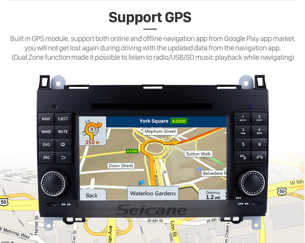 Seicane In dash Android 8.0 GPS Navigation system for 2006-2012 Mercedes Benz Sprinter W906 W209 W311 W315 W318 with Radio Touch Screen Bluetooth DVD Player WiFi TV steering wheel control USB SD HD 1080P Video Backup Camera