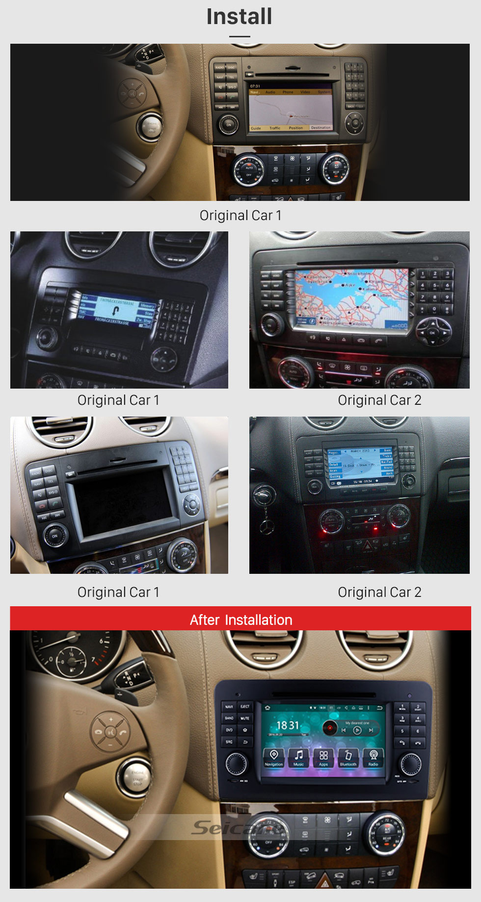 Seicane Android 8.0 GPS Navigation system for 2005-2012 Mercedes-Benz ML CLASS W164 ML300 ML350 ML450 ML500 with DVD Player Touch Screen Radio Bluetooth WiFi TV Backup Camera steering wheel control USB SD HD 1080P Video