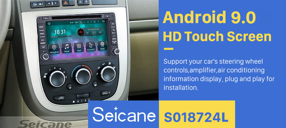 Seicane Android 9.0 2005 2006 Pontiac Montana SV6 Radio GPS-Navigation mit DVD-Player HD Touchscreen Bluetooth WiFi TV Lenkradsteuerung 1080P Rückfahrkamera