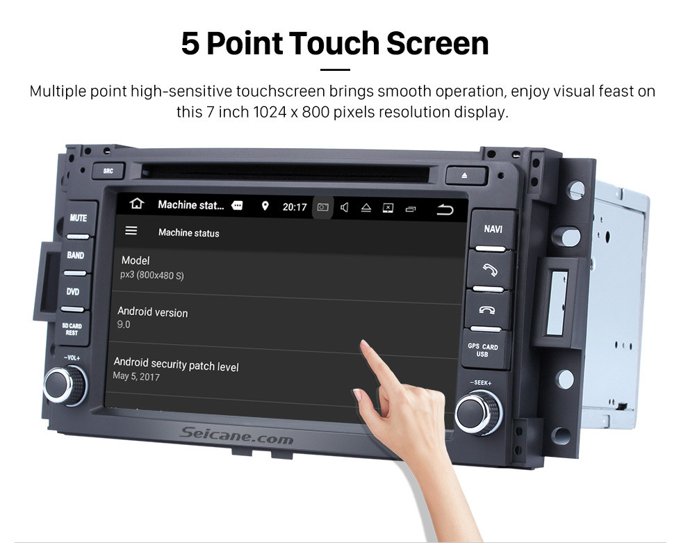 Seicane Android 9.0 2005 2006 Pontiac Montana SV6 Radio GPS Navigation with DVD Player HD Touch Screen Bluetooth WiFi TV Steering Wheel Control 1080P Backup Camera