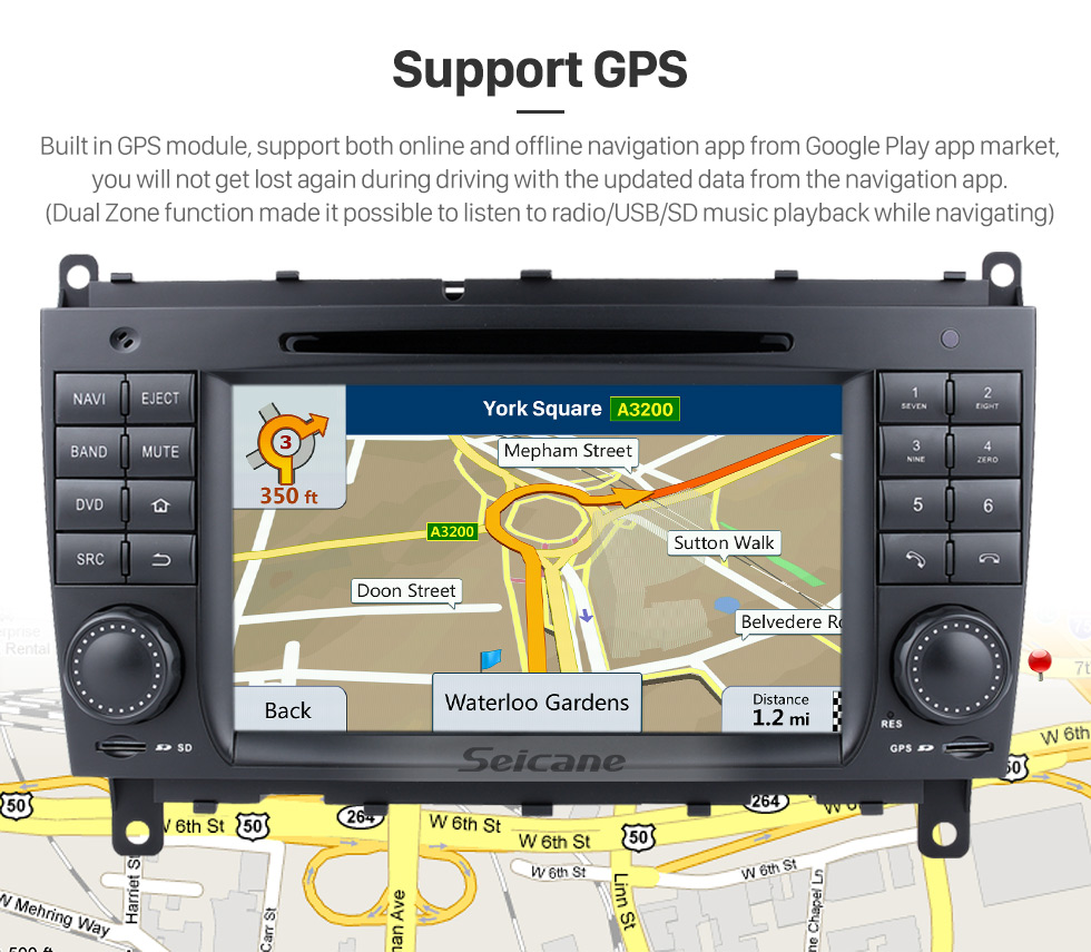 Seicane Android 9.0 GPS Navigation system for 2006-2011 Mercedes-Benz CLK W209 CLK270 CLK320 CLK350 CLK500 with Radio DVD Player Touch Screen Bluetooth WiFi TV HD 1080P Video Backup Camera steering wheel control USB SD