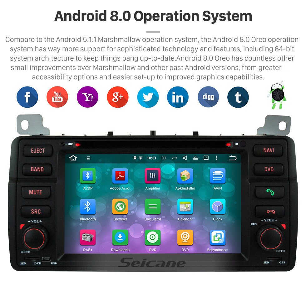 Seicane Android 8.0 2007-2010 ROVER MG7 7 Inch HD Touchscreen Head Unit Car Radio Stereo DVD Player GPS Navigation System Music Bluetooth 4G WIFI Support 1080P Video Backup Camera DAB+ DVR