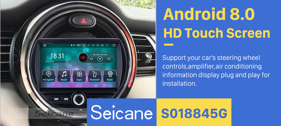 Seicane OEM Android 8.0 DVD Player GPS Navigation system for 2015 2016 BMW  MINI COOPER with HD 1080P Video Bluetooth Touch Screen Radio WiFi TV Backup Camera steering wheel control USB SD