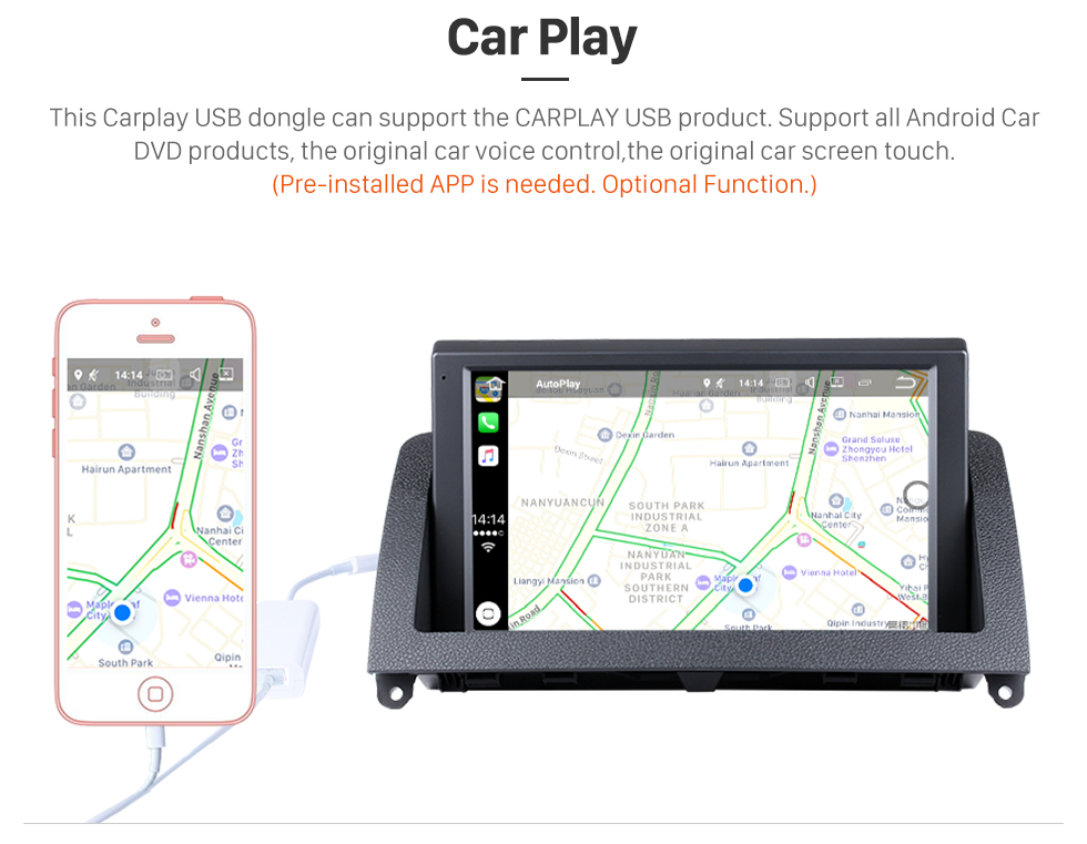 Seicane 8 Inch HD 1024*600 Touchscreen Android 8.0 2007-2011 Mercedes-Benz C Class W204 Car Stereo GPS Navigation System with 1080P Video Bluetooth USB SD WIFI  Mirror Link Backup Camera