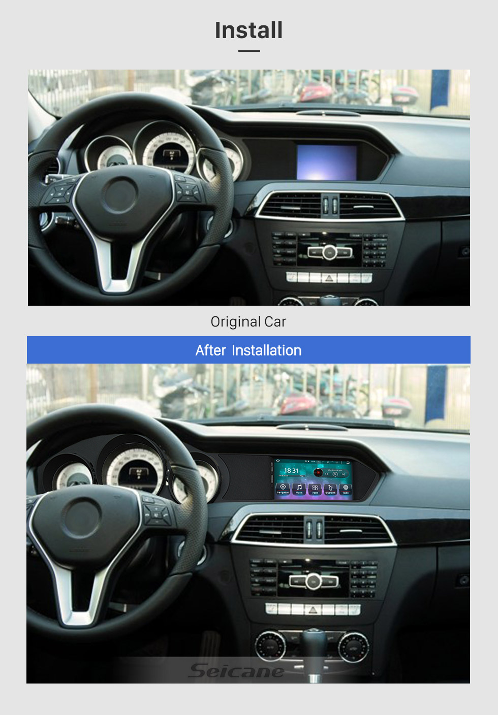 Seicane 7 Inch Android 8.0 Car Multimedia Player for 2012 2013 Mercedes-Benz C Class W204 C180k C200 HD Touchscreen Radio GPS Navigation Upgrade Unit Steering Wheel Control Bluetooth Music Wifi USB FM/AM/RDS support Carplay