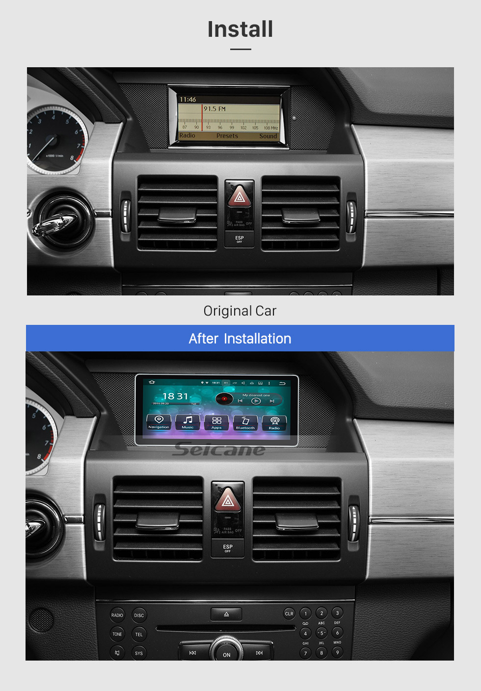 Seicane 10.25 inch 1280*480 Touchscreen Radio Android 8.0 Car Stereo for 2008-2015 Mercedes Benz GLK Class X204 GLK200 GLK250 Bluetooth WIFI GPS Navigation 1080P Video Player SWC support DVR Rearview Camera