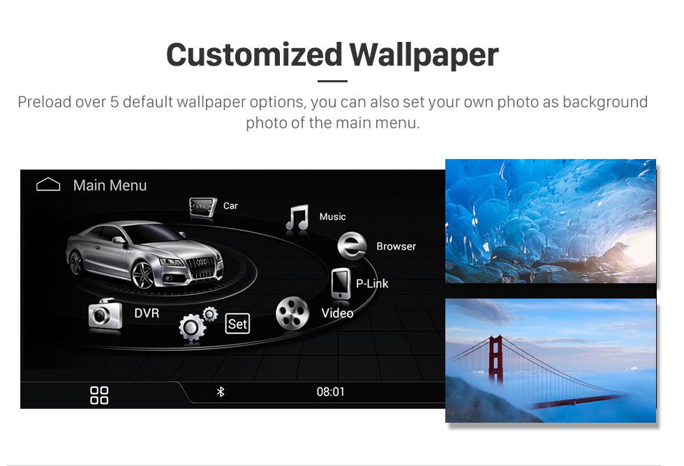 Seicane 10,25 polegadas Android 7.1 sistema de navegação de unidade de cabeça estéreo de rádio de carro para 2009-2014 AUDI A4 com música Bluetooth WIFI FM AM suporte USB câmera de visão traseira controle de volante
