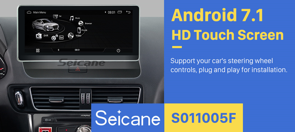 Seicane 10.25 inch 2009-2018 AUDI Q5 Left Hand Driving Car Android 7.1 Radio 1280*480 Touchscreen GPS Navigation auto Stereo Steering Wheel Control Bluetooth USB WIFI Carplay Rearview Camera 1080P