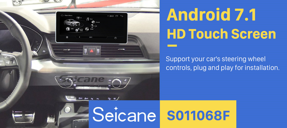 Seicane 10.25 Inch Android 7.1 Car Radio Stereo GPS Navigation System Head Unit For 2017 AUDI Q5 with 1280*480 touchscreen WIFI FM AM Bluetooth music Support Carplay DVR Steering Wheel Control