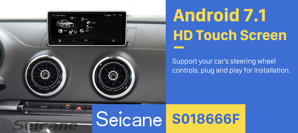 Seicane 10.25 inch  Android 7.1 Radio for 2016 AUDI A3 1280*480 HD Touchscreen Bluetooth GPS Navigation Upgrage Head Unit support 3G WIFI USB Mirror Link TPMS OBD DVR 1080P Video Carplay