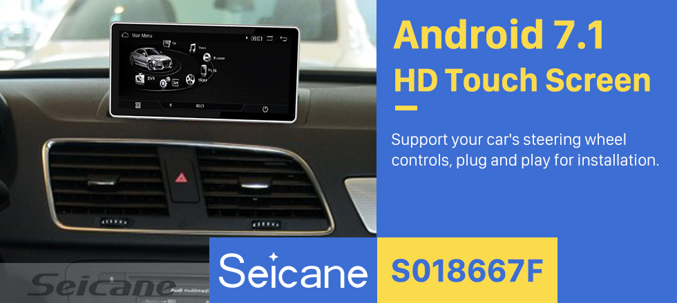 Seicane 10.25 inch Android 7.1 Radio for 2009 2010 2011-2015 AUDI Q3 1280*480 Touchscreen Bluetooth GPS Navigation Upgrade Multimedia Player 3G WIFI USB support Carplay DVR 1080P Video