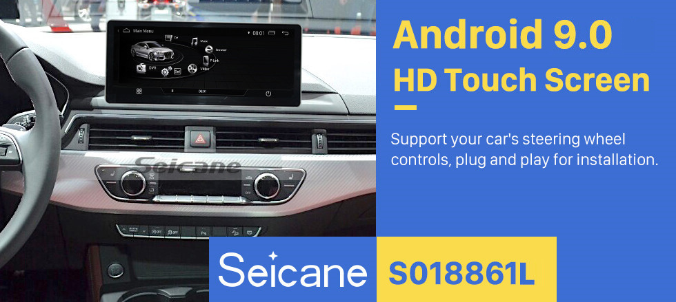 Seicane 10.25 inch Android 9.0 GPS Navigation 1028*480 Touchscreen Radio Head unit for 2015-2018 AUDI A4(B9) Car Multimedia Player USB Carplay Steering Wheel Control Bluetooth Music support OBD2 DVR