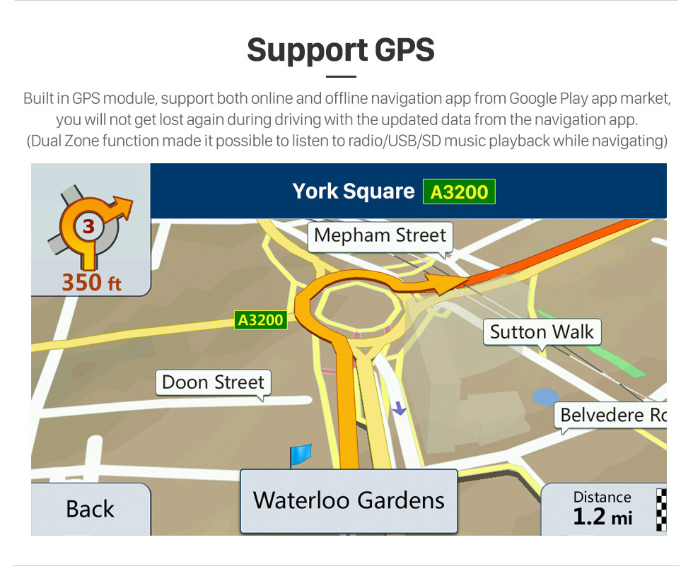 Seicane Android 4.4 Radio Navegación GPS de 8 pulgadas para 2011-2018 AUDI Q3 Unidad principal 1024 * 600 HD Reproductor de video con pantalla táctil USB Bluetooth Carplay Control del volante WIFI 1080P Soporte de TV digital OBD2 TPMS