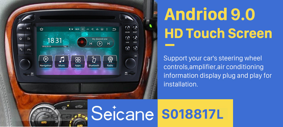 Seicane Android 9.0 GPS Navigation system for 2001-2004 Mercedes SL R230 SL350 SL500 SL55 SL600 SL65 with DVD Player Touch Screen Radio Bluetooth WiFi TV HD 1080P Video Backup Camera steering wheel control USB SD