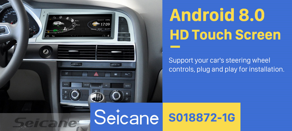 Seicane 8.8 inch Android 8.0 Radio for 2010-2011 Audi A6 Bluetooth WIFI USB HD Touchscreen GPS Navigation support Carplay DAB+ DVR