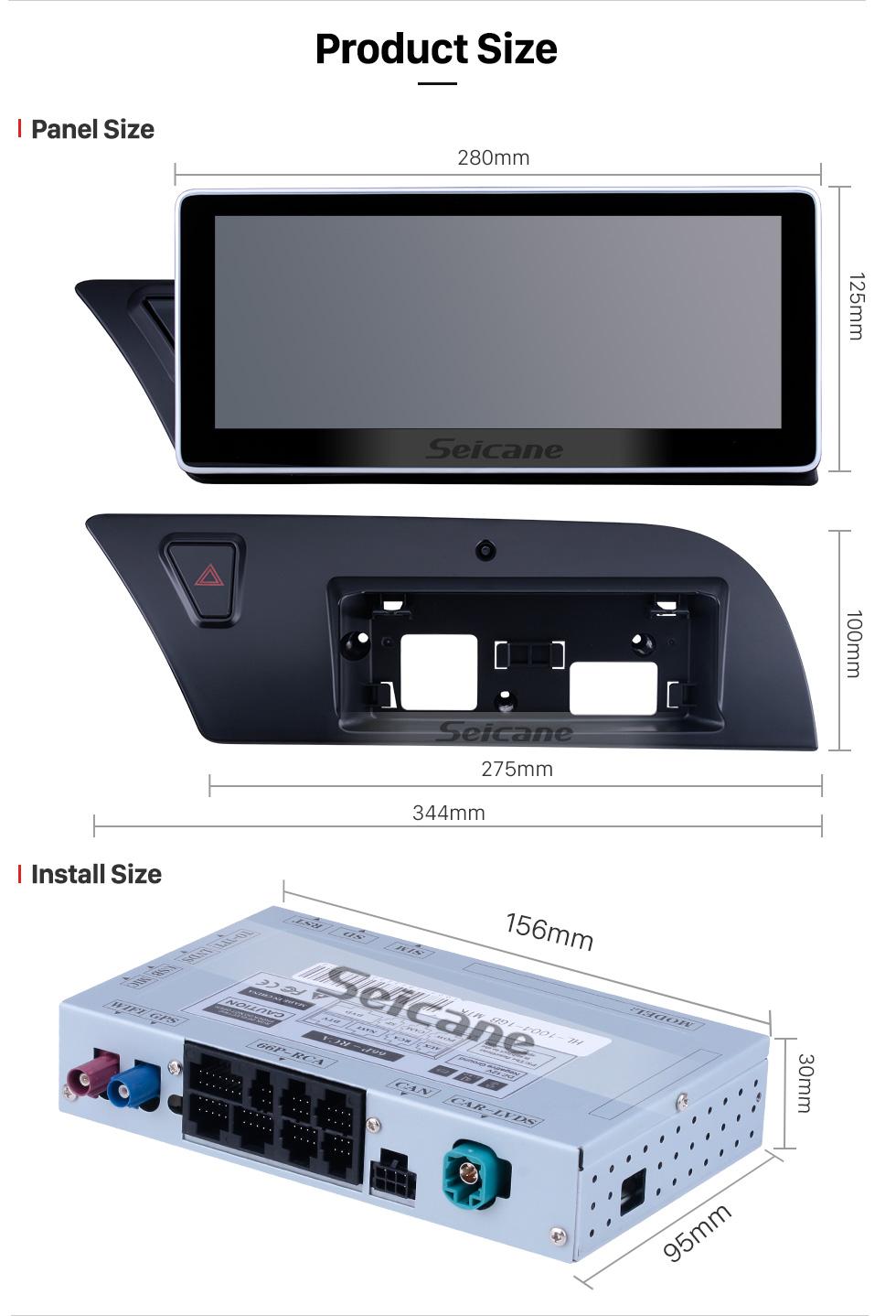Seicane 10,25-дюймовый Android 9.0 Автомобильный радиоприемник Стерео головное устройство Система GPS-навигации для 2009-2014 AUDI A4 с 1280 * 480 сенсорным экраном Музыка Bluetooth WIFI FM AM Поддержка USB Камера заднего вида Управление рулевого колеса