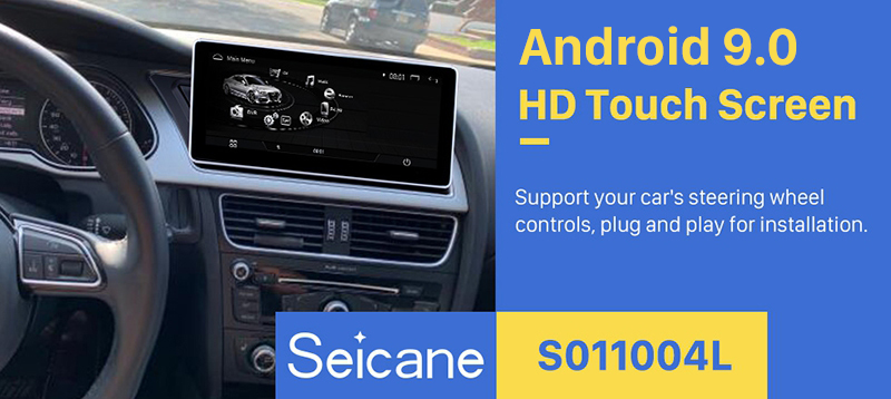 Seicane 10.25 Inch Android 9.0 Car Radio Stereo Head Unit GPS Navigation System for 2009-2014 AUDI A4 with 1280*480 touchscreen Bluetooth music WIFI FM AM Support USB Rearview Camera Steering Wheel Control
