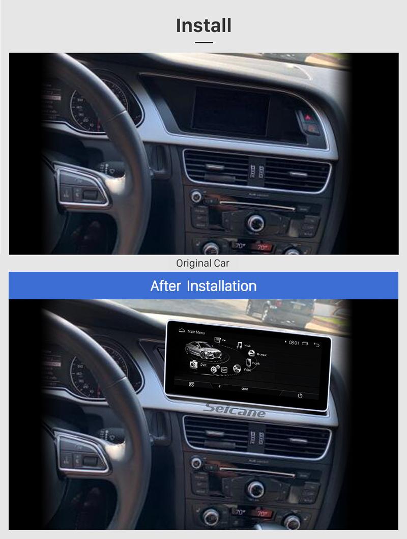 Seicane 10.25 pulgadas Android 9.0 Car Radio Estéreo Unidad principal Sistema de navegación GPS para 2009-2014 AUDI A4 con pantalla táctil 1280 * 480 Bluetooth música WIFI FM AM Soporte USB Cámara de visión trasera Control del volante