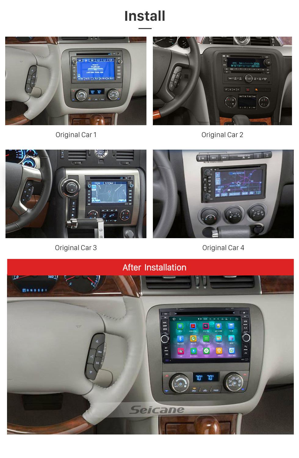 Seicane Bluetooth Radio Android 9.0 GPS Navigationssystem 2007-2011 GMC Acadia mit DVD-Player Touchscreen DVR WIFI TV Lenkradsteuerung